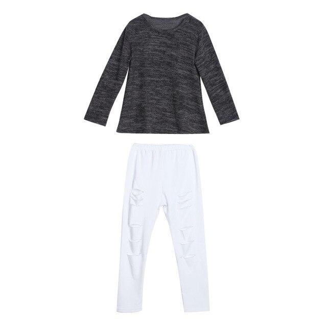 f7793a34ab535 2017 Spring Kids Child Girls Clothes Set Long Sleeve T-shirt Tops+Ripped  Jeans Denim Pants 2pcs Fashion ...