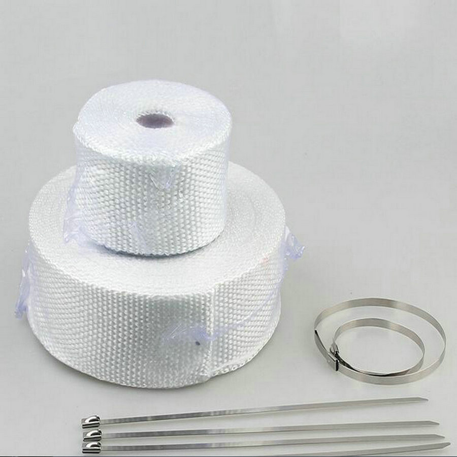Image 4 - 5m*2inch White Exhaust Pipe Tape Muffler Pipe Header Fiberglass Tape Exhaunt Wrap Exhaust Tape Exhaust Heat Wrap-in Exhaust & Exhaust Systems from Automobiles & Motorcycles