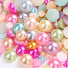 Free Shipping 1000pcs 2/3/4/5/6/8/10mm Mixed Colorful Plastic ABS Imitation Half Round Pearls Beads For DIY Jewelry Accessories