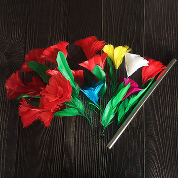 Appearing Bouquets & Color Changing Flower Magic Tricks Wand to Feather Bouquet Magia Magician Stage Illusion Gimmick Props Fun