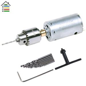 Image 4 - DIY Mini Hand Drill Kit Electric Motor Drill Press JT0 Keyless Chuck 10pc Twist Bits Adjustable Speed Power Adapter Woodworking