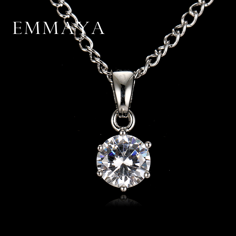 Emmaya Round Cut AAA Zircon Pendant Necklace Fashion Cheap Necklaces for Women Wedding and Engagement Jewelry Lowest Price