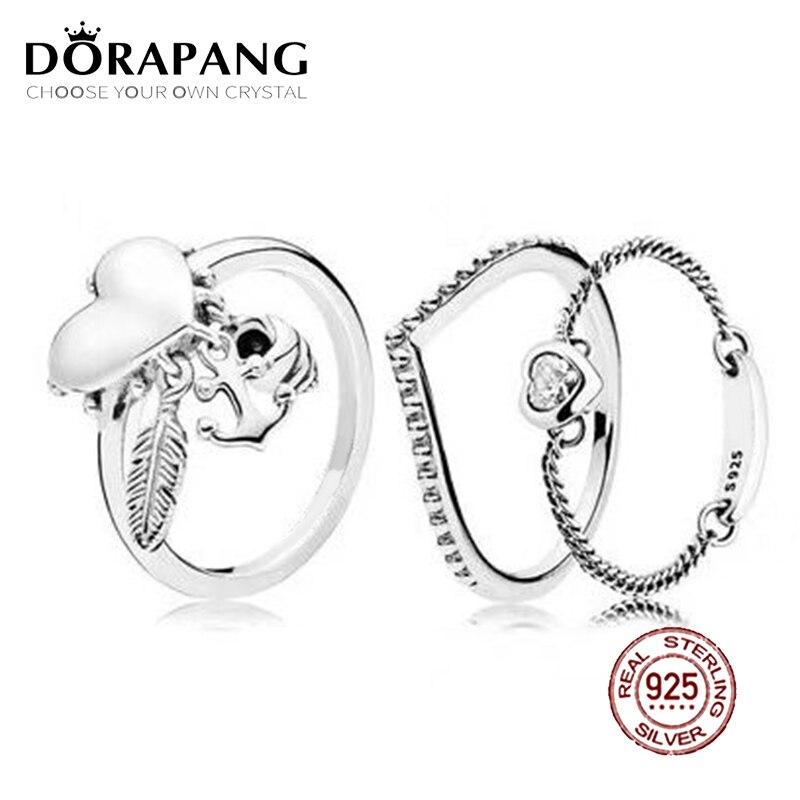 2018 NEW 100% 925 Sterling Silver Ring Love Heart Spiritual Symbols Stacked Ring Wedding Fashion Women DIY Gift Jewelry women spiritual help seeking behavior