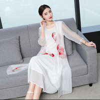 2019 New Spring And Summer European American Graceful Fairy Embroidered Women Long Dress Silk Simple Round Collar Loose Dresses