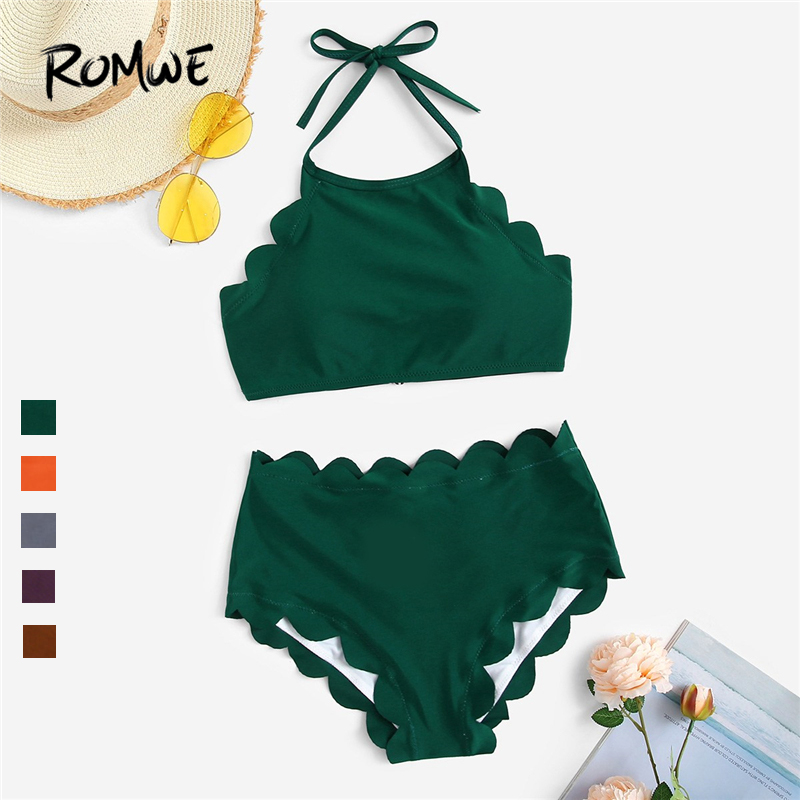 Romwe Swimsuit Bikini Bottoms Two-Piece High-Waist Women Summer Scalloped HALTER Sport