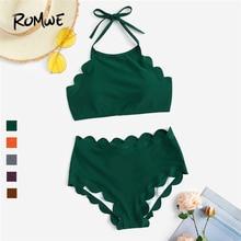 цена на Romwe Sport Women Two Piece Swimsuit Scalloped Trim Halter Bikini With High Waist Bikini Bottoms Swimwear Summer Swiming Suit