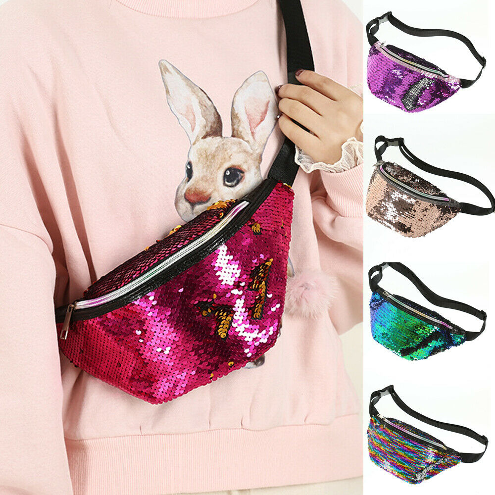 Waist Bags Women Travel  Sequins PU Leather Shoulder Chest Bag Fanny Pack Holiday Money Belt Wallet Glitter Bum Bag Pouch