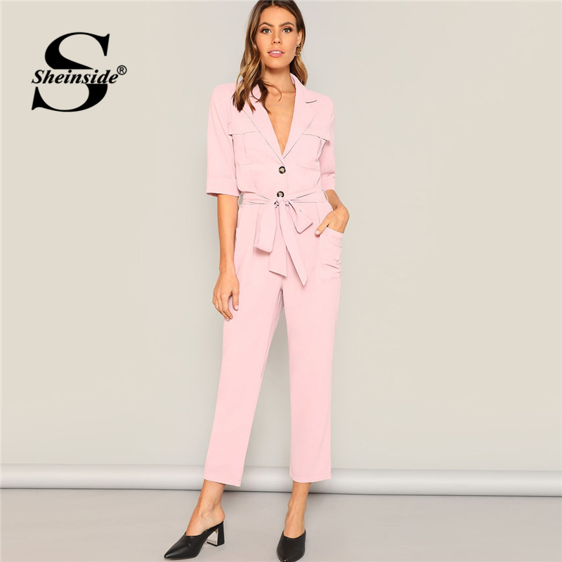 Sheinside Notched Neck Buttoned Pocket Patched Women Jumpsuits 2019 Pink Pastel Mid Waist Elegant Blazer Jumpsuit With Belt
