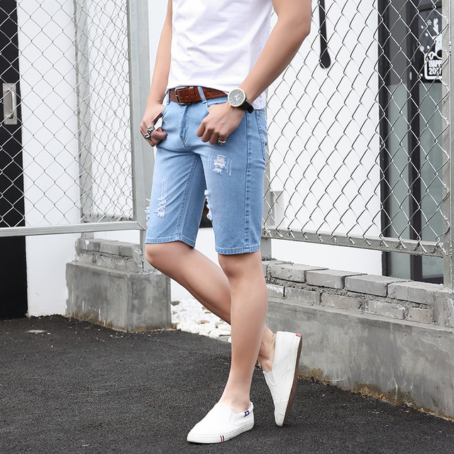 c8d5ab517675 € 11.75 |Para hombre de La Moda Pantalones Cortos de Mezclilla 2017 Nuevo  Verano Casual Regular Longitud de La Rodilla Corto Bermudas Masculina ...