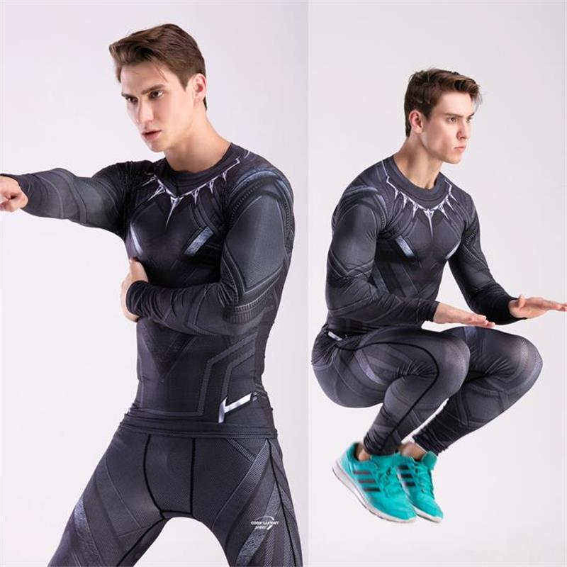 Mma Males's Compression Tights Set Superhero T-Shirt 3D Print Spider-Man Panthers Captain America Cosplayer Clothes Two-Piece Set