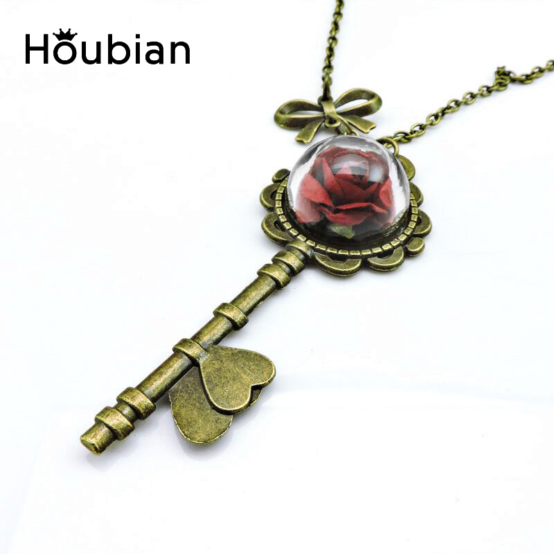 Houbian 4Colors Vintage Dried Flowers Glass Ball Necklace Natural Flower Half Key Pendant Necklace Mirror Butterfly Necklaces