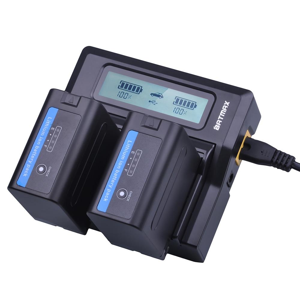 2 unids 7200 mAh NP-F970 NP F970 de potencia de la batería de la pantalla + 1 Ultra rápido 3X más rápido cargador Dual para SONY F930 F950 F770 F570 CCD-RV100