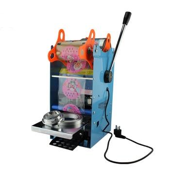 Milk cup sealing machine, manual milk cup impulse sealer, soft drink packer tool plastic cup sealing machine for 75/90/95mm dia.