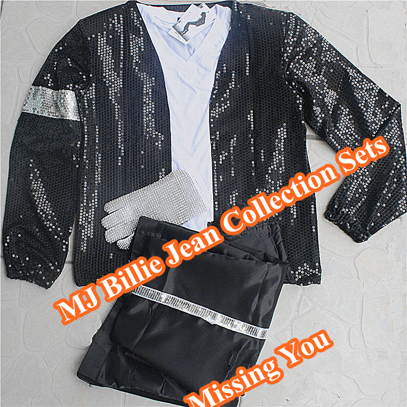 Classic MJ Billie Jean Collection 6 Piece Sets Michael Jackson Performance Ballroom Dance Brand Clothing For Fans