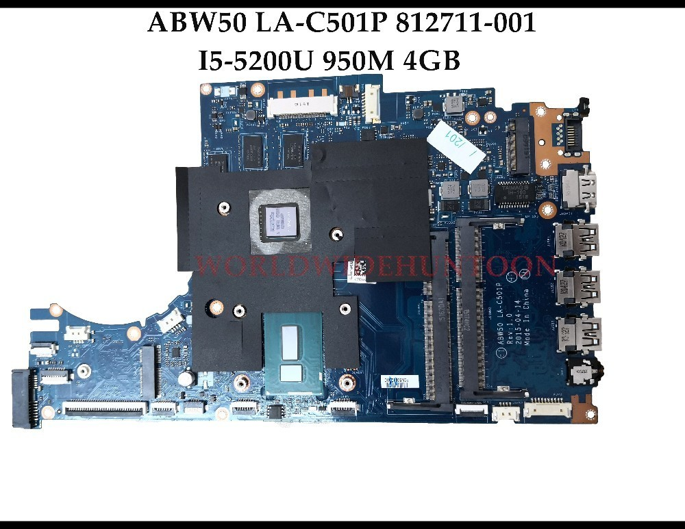 High quality ABW50 LA-C501P for HP Envy notebook 15-AE 15T-AE Laptop Motherboard 812711-001 I5-5200U 950M 4GB DDR3L Fully Tested