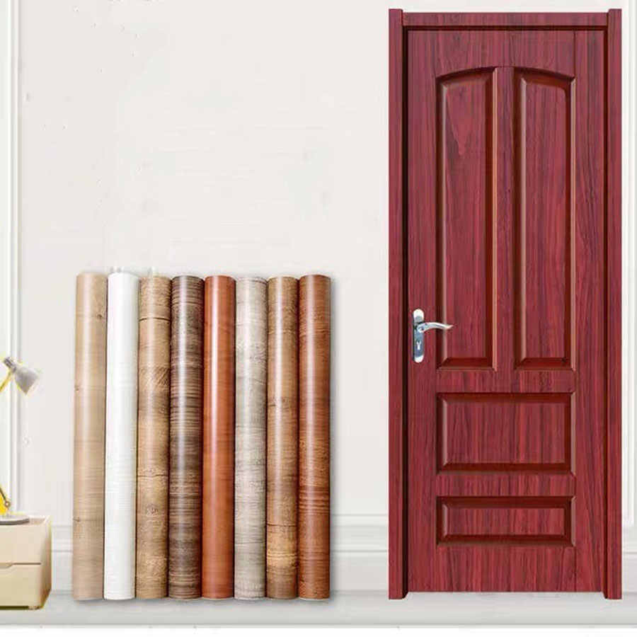 Wooden Door Stickers Self-adhesive Furniture Wall Sticker bedroom cabinet PVC Wallpaper Poster Home decoration renovation Decals
