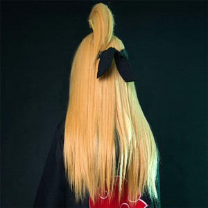 "Image 2 - נארוטו Deidara 60 ס""מ ארוך ישר זהב צהוב עמיד בחום Cosplay תלבושות פאה"