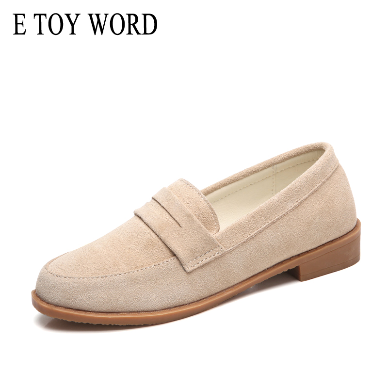 цена E TOY WORD Cow Leather Flats Loafers 2018 Spring Autumn New England style Women shoes Casual Retro Peas shoes Four Seasons shoes