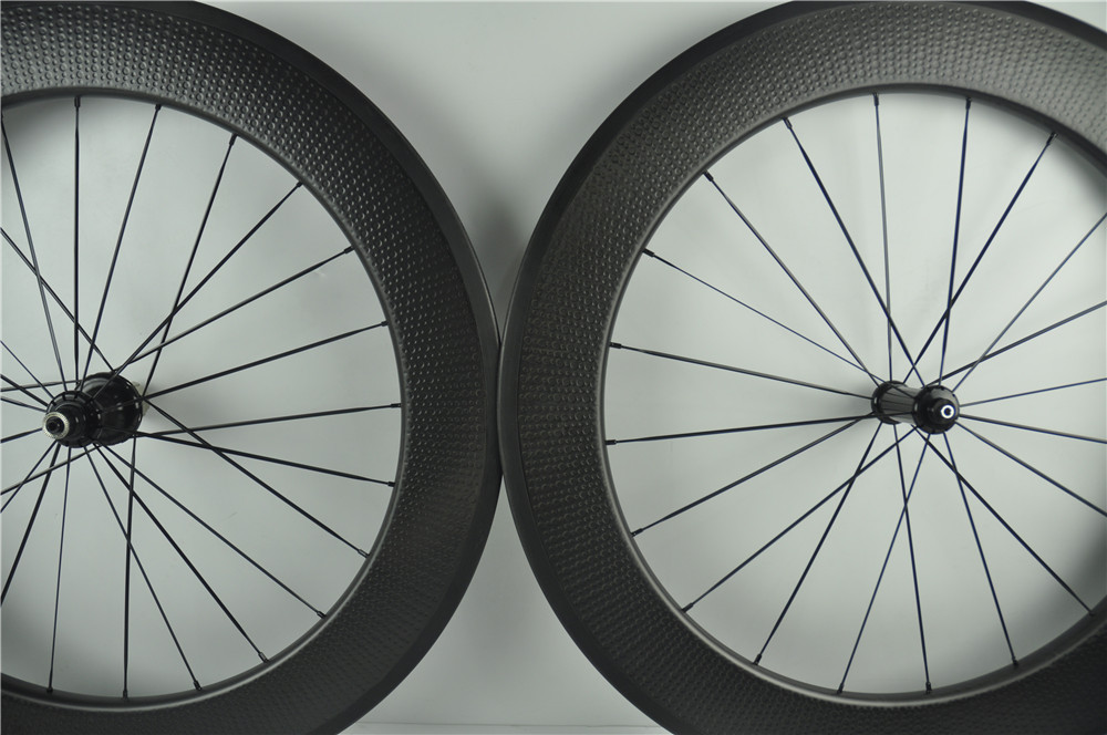 carbon fiber bike Wheel 25mm width 80mm deep dimple finish clincher wheels 700C road/track/disc bake bicycle wheelset стоимость