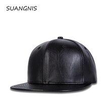2019 New Men Womens Solid Black Baseball Cap Leather Autumn