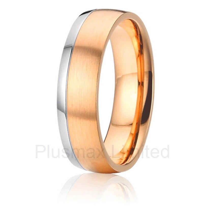 Nouveauté Anel de Casamento anti allergique titane mode bijoux en gros deux tons personnalisé anneaux de mariage pour les femmes