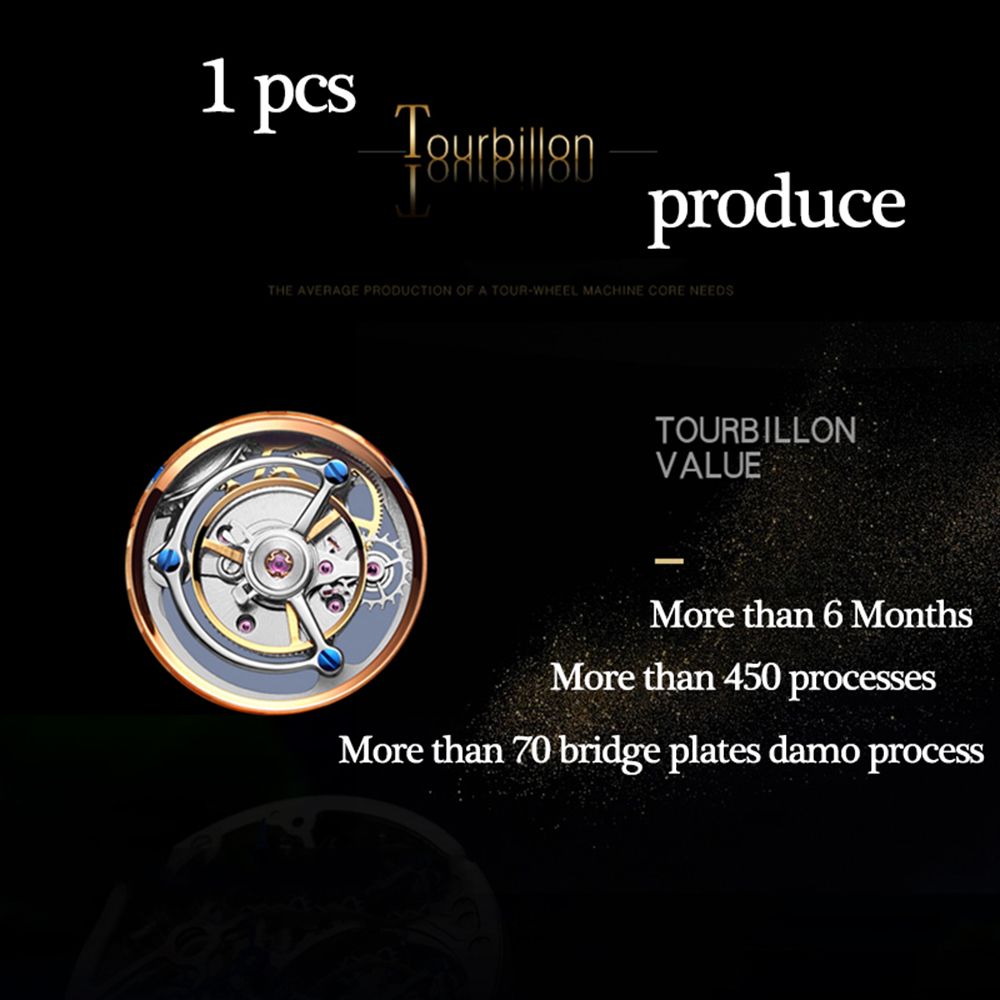 100% Tourbillon Watch men GUANQIN watch Skeleton mechanical Sapphire Mens Watches Top Brand Luxury clock men Relogio Masculino 3