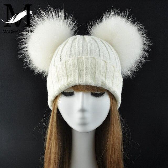 Winter Echtpelz Ball Beanie Hut für Frauen Damen Flauschigen Doppel Natürliche Waschbären Pelz Pom Pom Skullies Beanie Hut Mit 2 fell Pompon