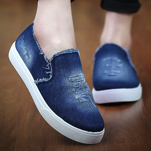 2016 New Breathable Shoe Canvas Denim Loafer Shoes Large Size Women Shoes Slip On Loafers Women Flats Shoes Woman zapatos mujer