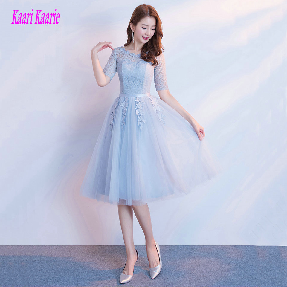 Fashion Light Blue Bridesmaid Dresses Short 2019 Wedding Party Gown Women Scoop Tulle Lace Up Tea