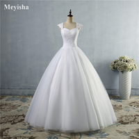 WD0007 Cap Sleeves Lace Up Wedding Dresses With Brush Train Bridal Gowns Dress For Brides With