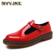 MVVJKE zapatos planos vintage de talla grande 34-43 para primavera y otoño hechos a mano con punta redonda, zapatos oxford rojos, negros y blancos para mujer