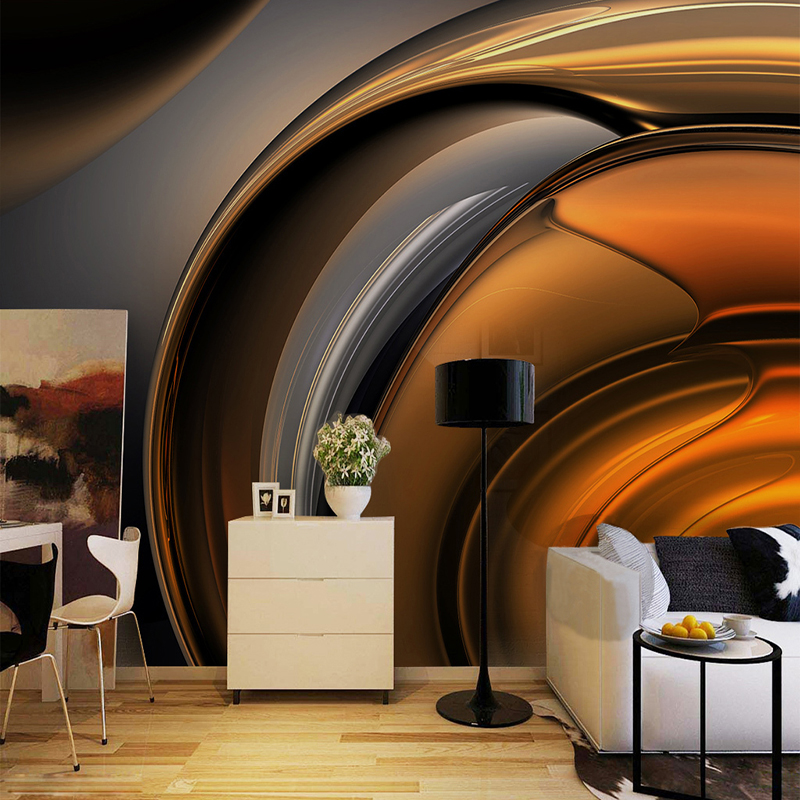 European Style Retro Metallic Glossy Coffee Line Wallpaper Murals Modern Abstract Art Living Room Cafe Restaurant Photo Mural 3D