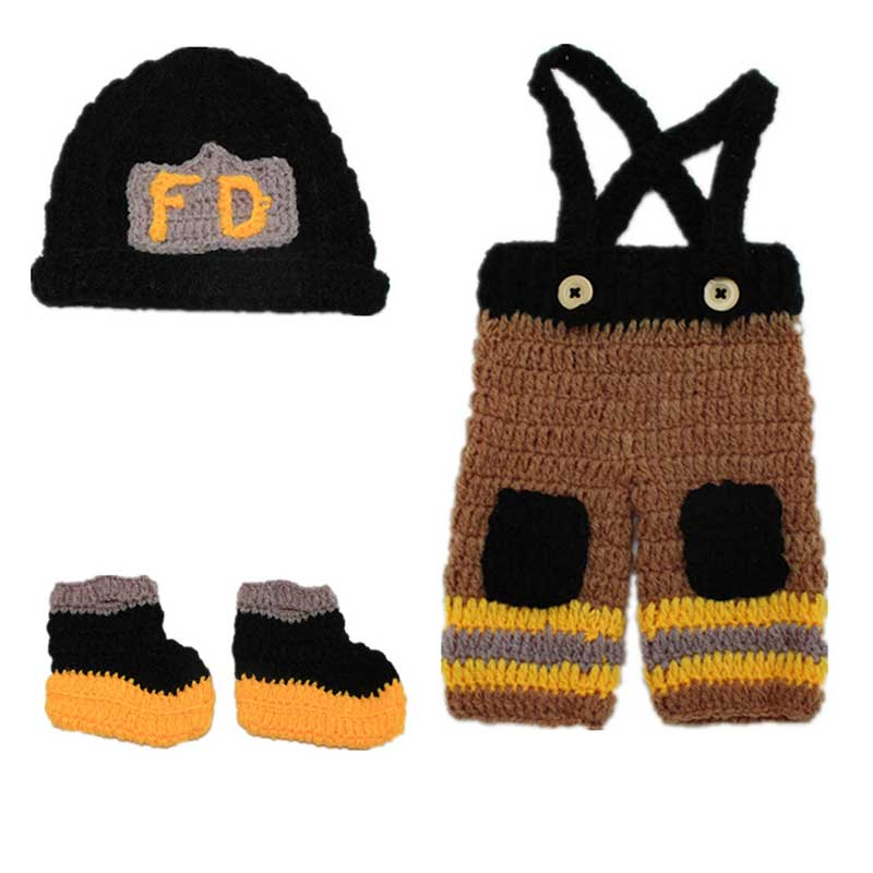 Newborn Infant Baby Photography Prop Handmade Knit Crochet Firefighter Baby Boy Clothes Fireman Caps Overall Boots Set Z194