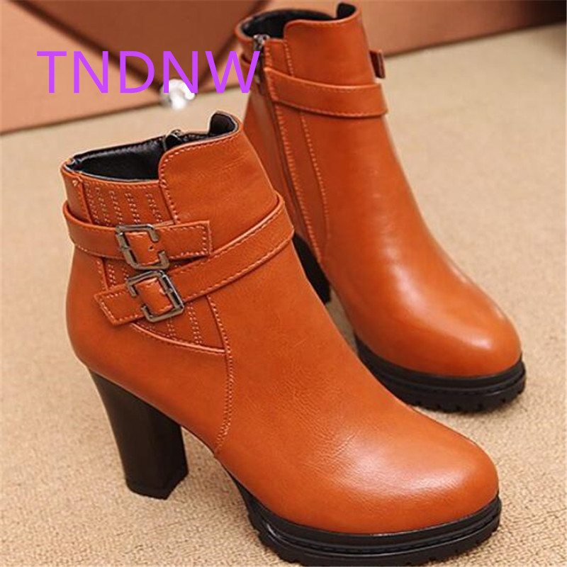 купить 2017 winter women warm Martin boots lady ankle slip on pu leather square heel high retro Booties female riding botas plush fashi дешево