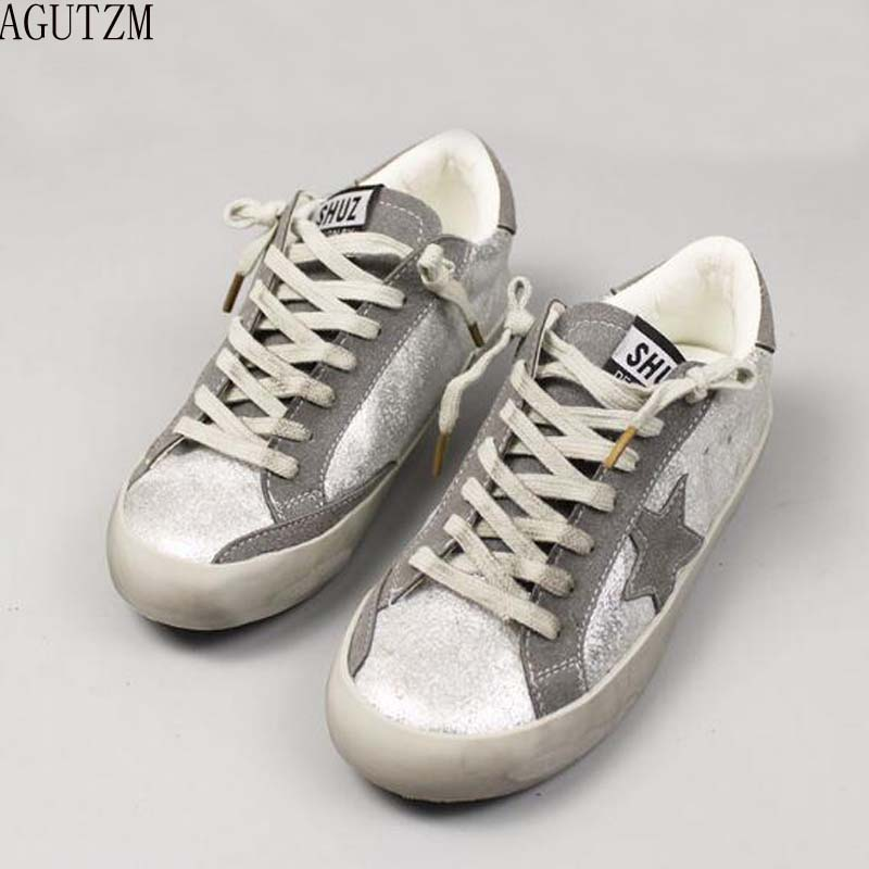 AGUTZM New Woman Star Sneakers Casual Shoe Round Toe Worn Out Distressed Leather Lace Up Vintage Do Old Dirty Shoe V279