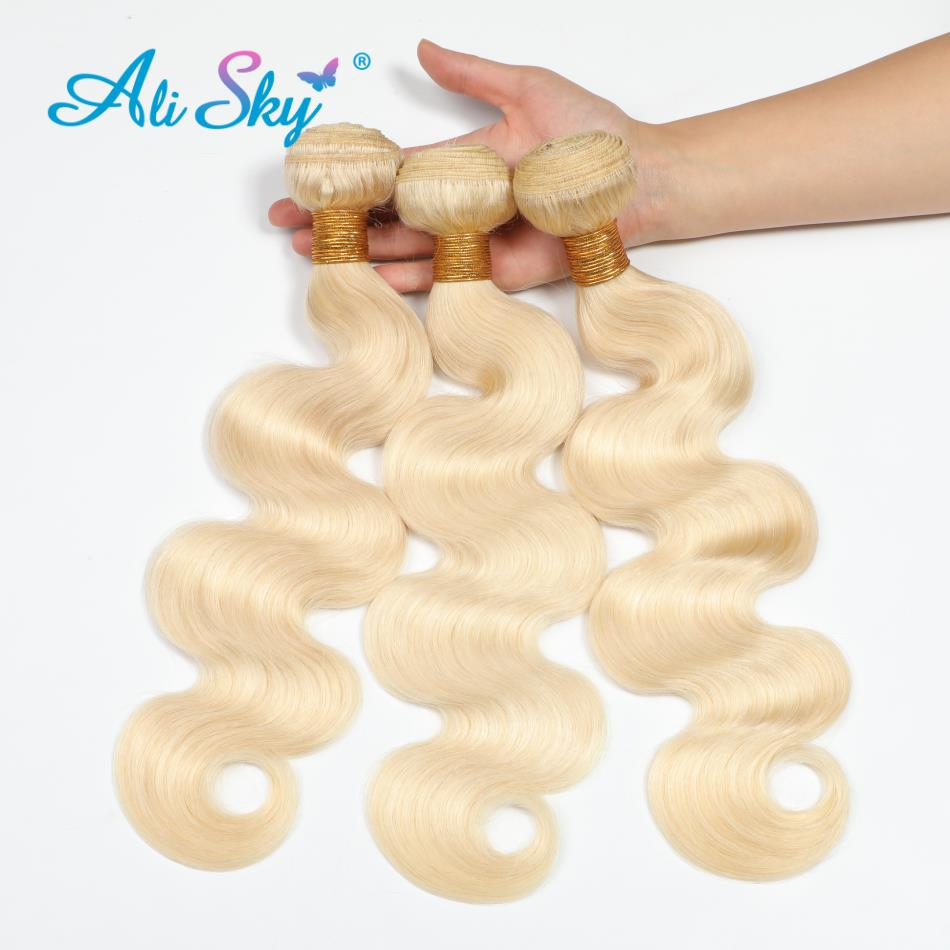 Ali Sky Hair Brazilian Body Wave 3 Bundles 613 Human Hair Bundles Deals Blonde Hair Weave