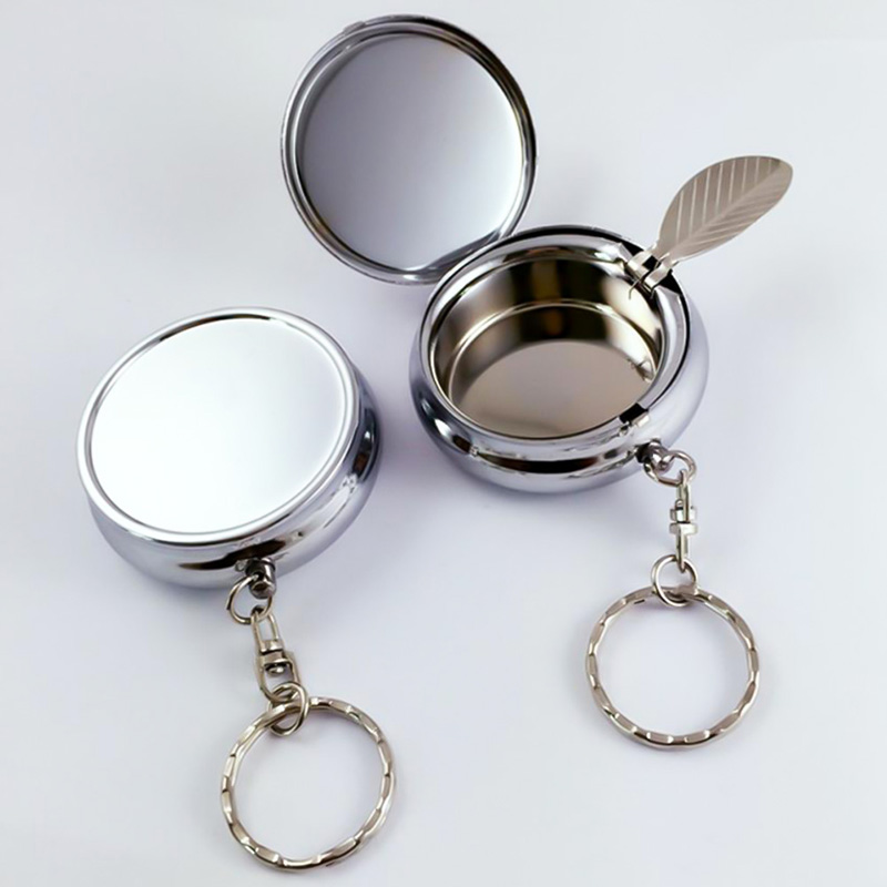 Fashion Portable Pocket Ashtray/Vehicle Cigarette Ashtray Mini Alloy Smoke Ash Ashtray With Key Chain And Cigarette Snuffer