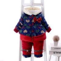 Conjunto do Inverno Da Menina Roupas Bebê Recém-nascido do bebê Snowsuit Quente Da Menina Da Criança Casaco Outerwear Jaqueta + Calça Bebê Infantil Terno Chrismas