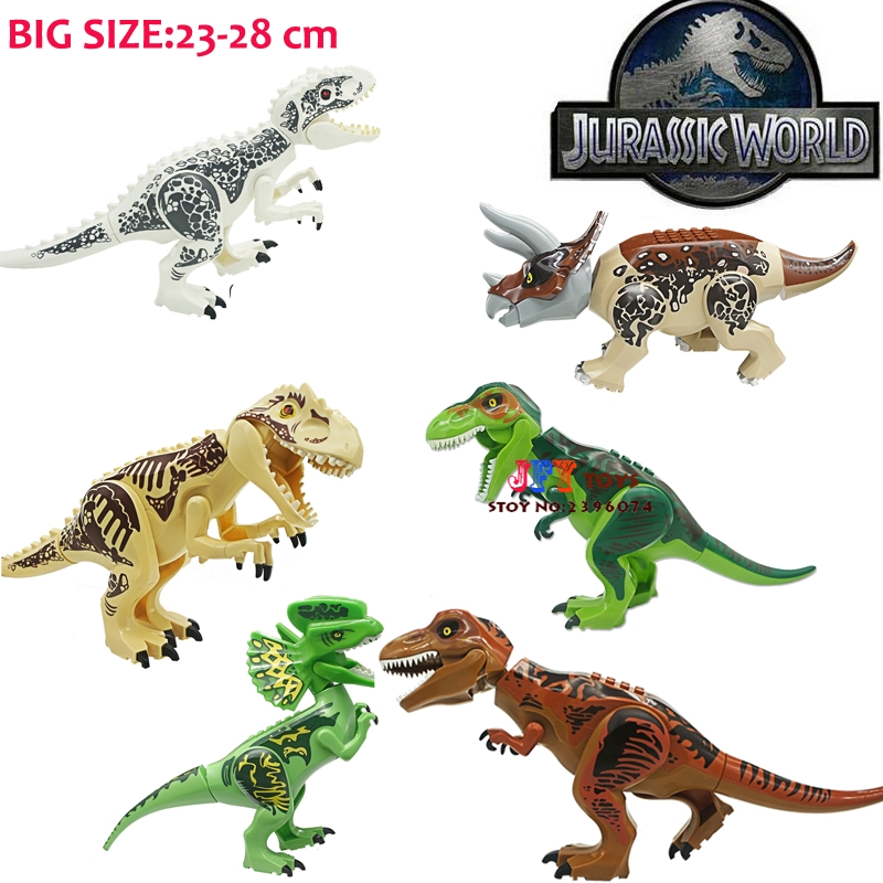 1/ Jurassic World Tyrannosaurus Building Blocks Jurrassic Dinosaur house games Ninja brick toys for children baby gift speelgoed the dinosaur island jurassic infrared remote control electric super large tyrannosaurus rex model children s toy