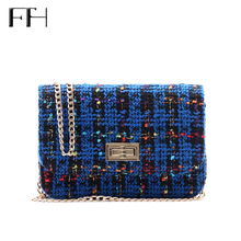 Vintage Women's Woolen Messenger Bag female shoulder Handbags famous Designer Ladies flap clutches Crossbody Chain Bag for girls