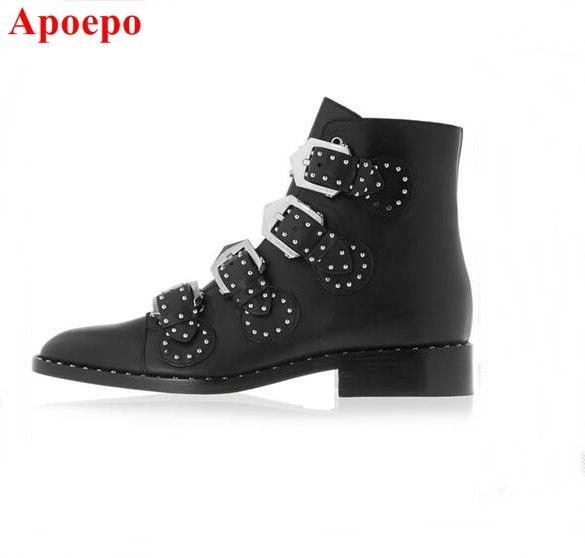 b5a27f97f7df Black Leather Studded Ankle Boots For Women Gold Metal Buckle Strap Sexy  Motorcycle Booties Flat Heel Women Dress Shoes Size 10-in Ankle Boots from  Shoes on ...