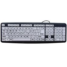 Large Print Computer Keyboard With White Keys & Black Letters For Visually Impaired