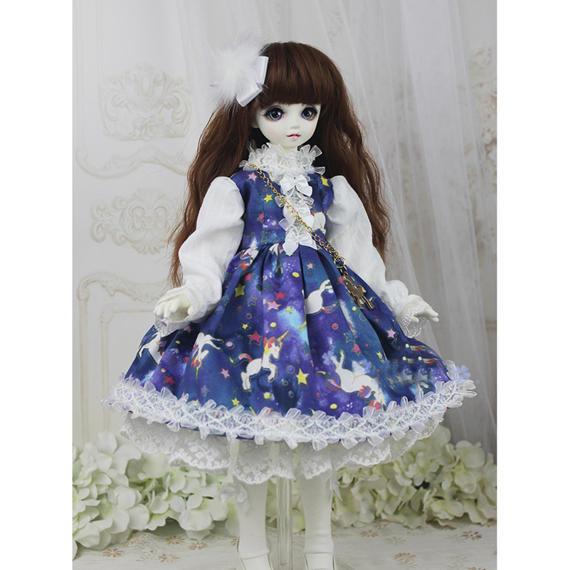 Princess 1/3 1/4 1/6 Doll Clothes Dress Starry Sky Unicorn Dress Clothing SD MSD BJD Doll Accessories Toys For Girls Kids Gifts new vintage forest beige dress dress for bjd doll 1 4 msd 1 3 sd10 sd13 sd16 ip eid luts dod sd doll clothes cwb90