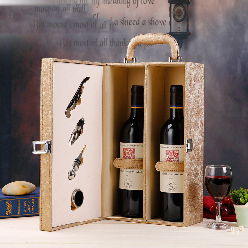 Gold Red Wine Storage Box With Wine Set Wine Bags High Quality Platane Wood Red Wine Carrier Gift Packing Box With Leather Tote