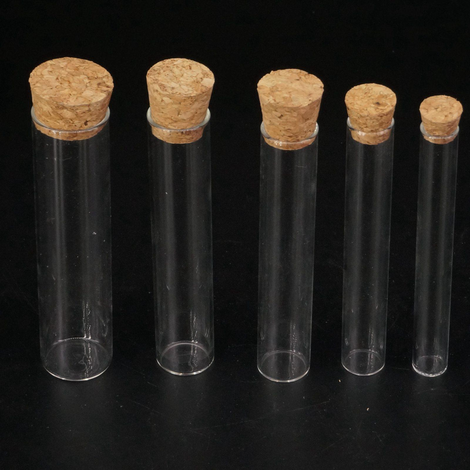 5pcs Oute Diameter 12mm 15MM 18MM 20MM 25MM 30MM 35MM 40mm Lab Glass Test Tube Flat Bottom With Wood Stopper Thermostability