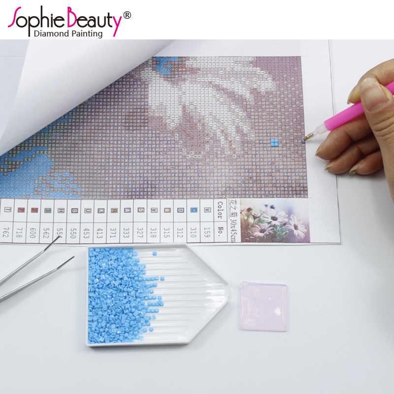 Sophie piękno pełne haftowane rękodzieło dżetów ściegu Diy diament malarstwo Buttfly dziewczyna i kwiatowa domowa Decro C258