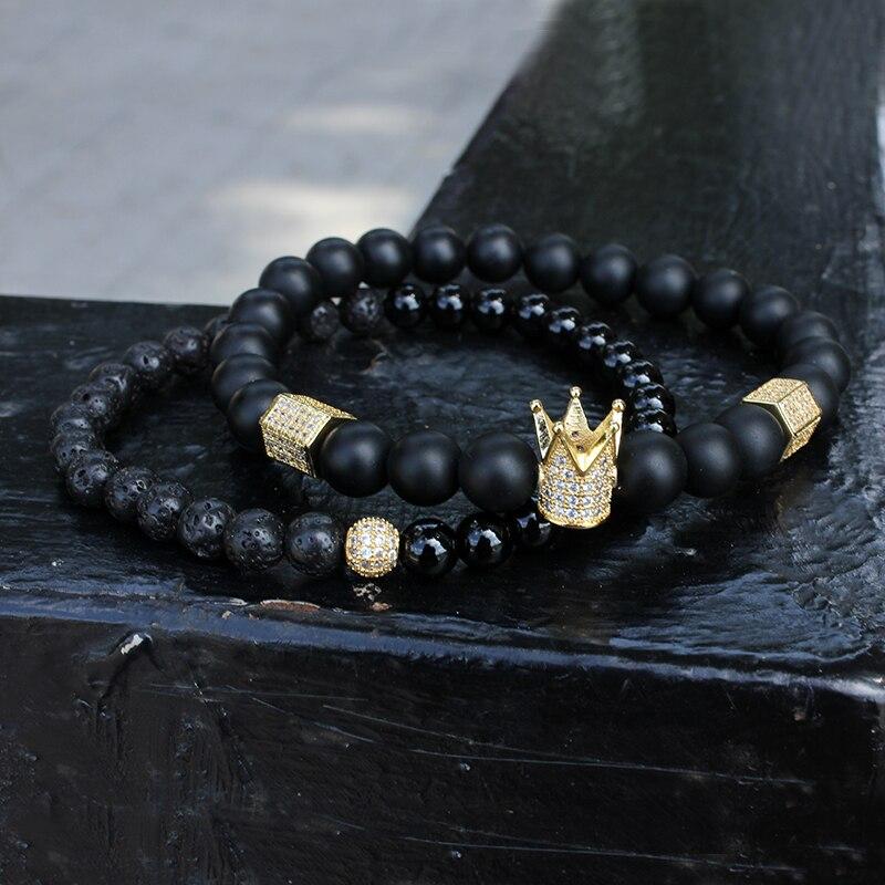 2pcs set Men Woman Bead Bracelet Crown Charm Bangle Natural Beads Buddha Bracelet for Women and