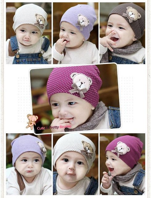 6ce62e88ef8 Wholesale 10pcs lot 2 size cute bear Baby Cap Kids Hats Cotton Beanie  Infant Hat children Baby Hat