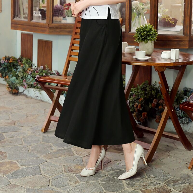 Hot Sale Black Womens Linen Cotton Elastic Waist Short Skirts Classic Chinese tang Clothing P0019-A