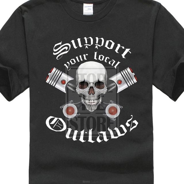 US $8 79 12% OFF Outlaws Mc Shirt Support Your Local Outlaws Black Men &  Women T Shirt S Xl #2-in T-Shirts from Men's Clothing on Aliexpress com  